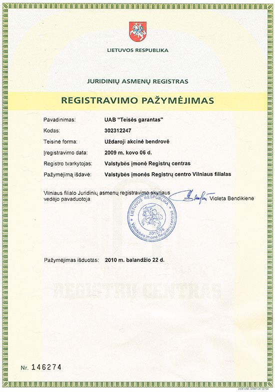 teises garantas sertifikatas